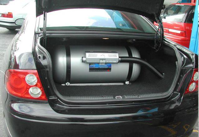 Butla gazowa w samochodzie
